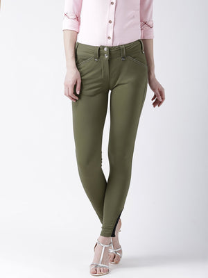 JUMP USA Women Olive Slim Fit Trouser - Jump USA