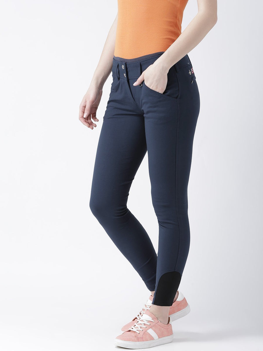 JUMP USA Women Navy Blue Slim Fit Trouser - Jump USA