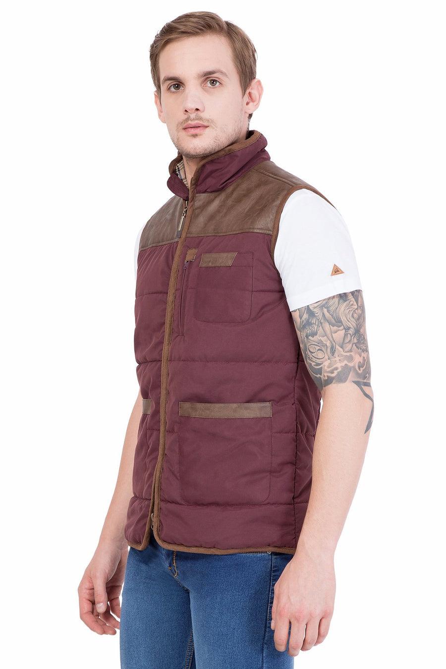 Men Half Sleeve Zipper Jacket