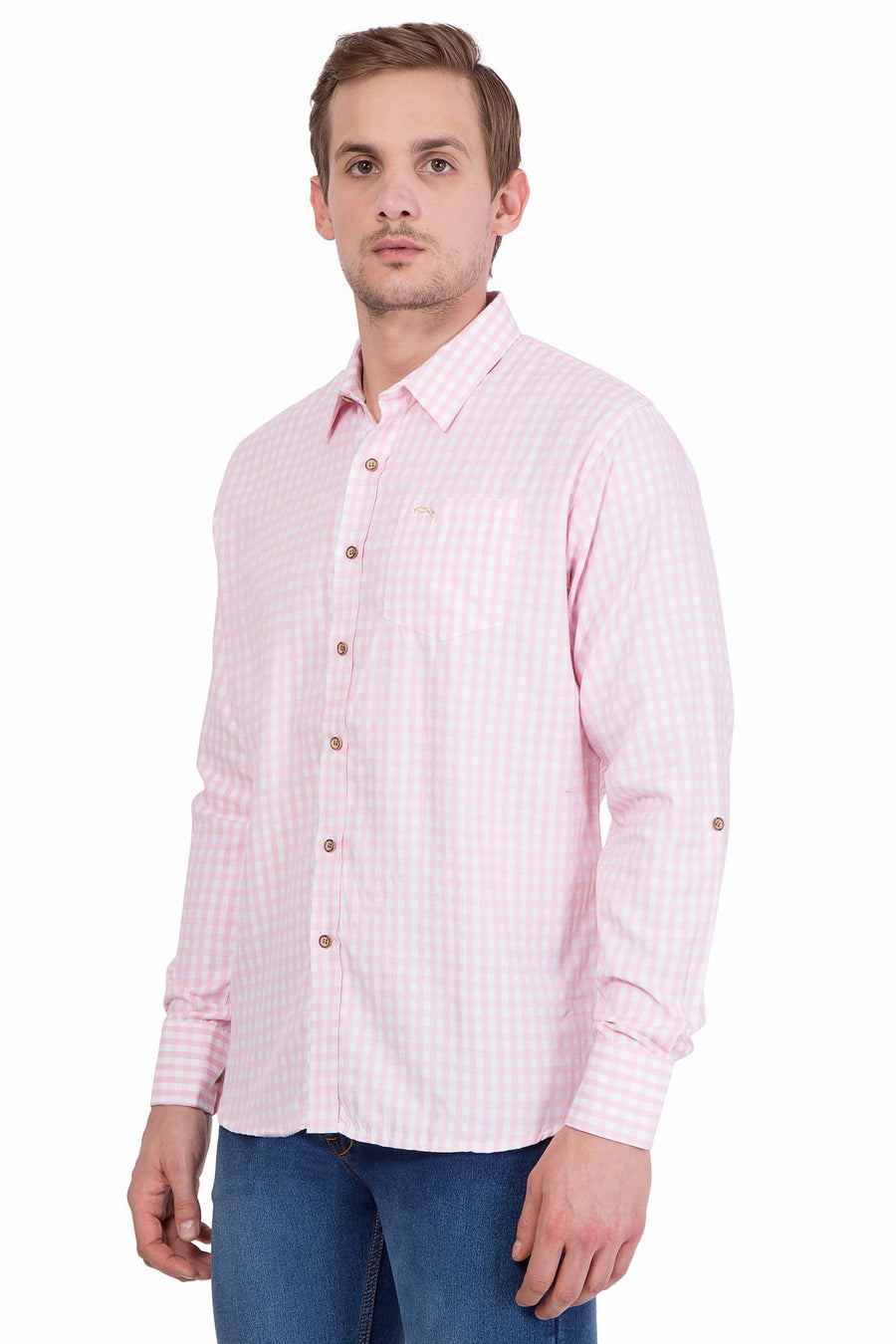 Slim Fit Long Sleeve Pink And White Check Casual Shirt