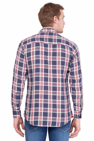 Men's Relaxed Fit Navy Blue Check Casual Shirt