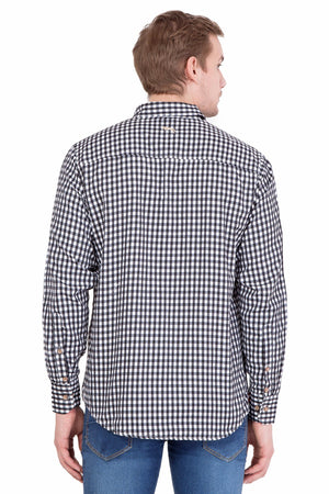 Men's Relaxed Fit Black And White Check Shirt