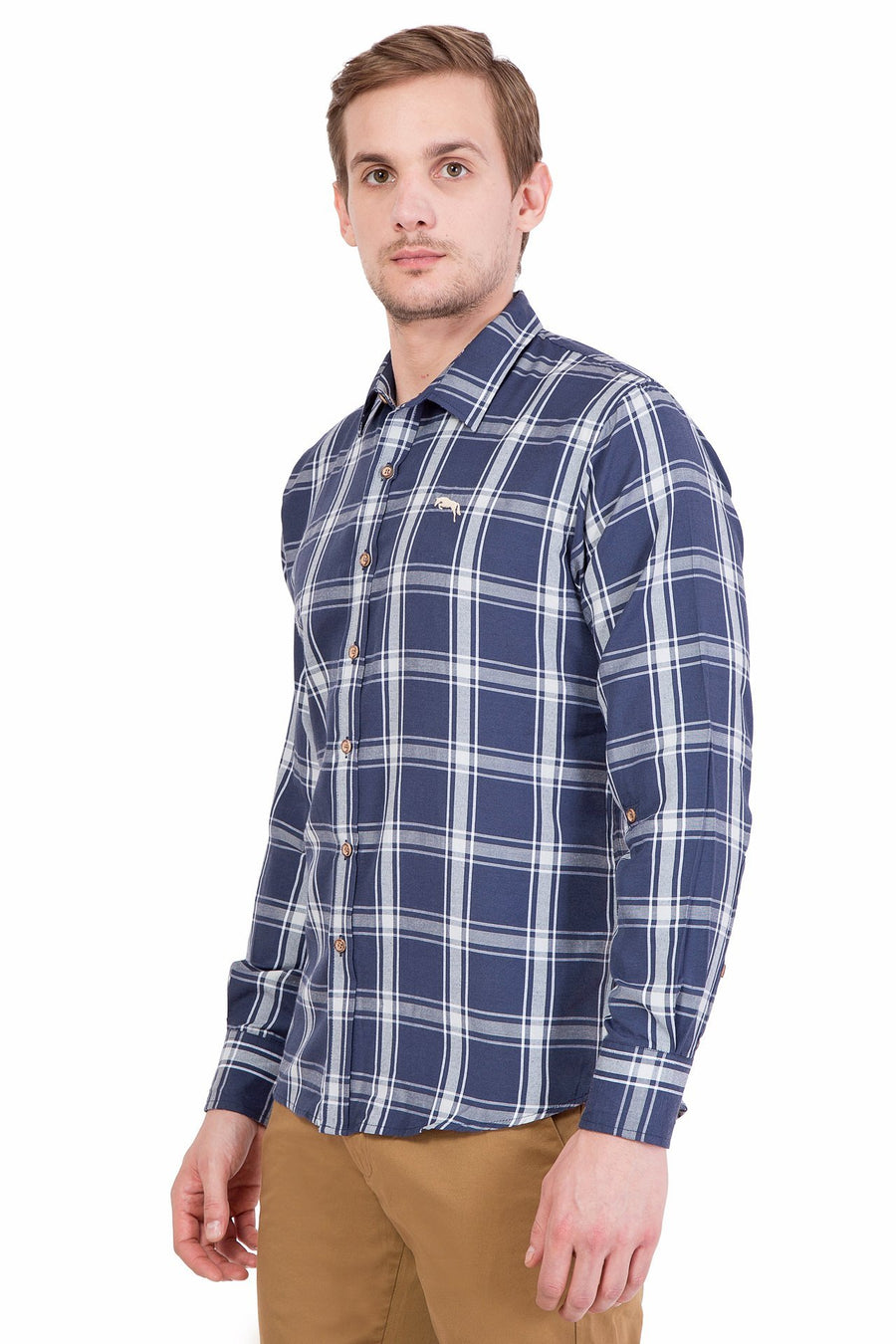 Relaxed Fit Navy And Grey Check Casual Shirt