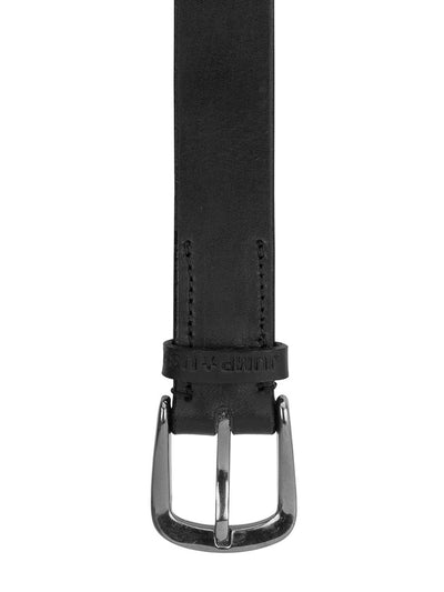 Men Black Solid Leather Belt - JUMP USA