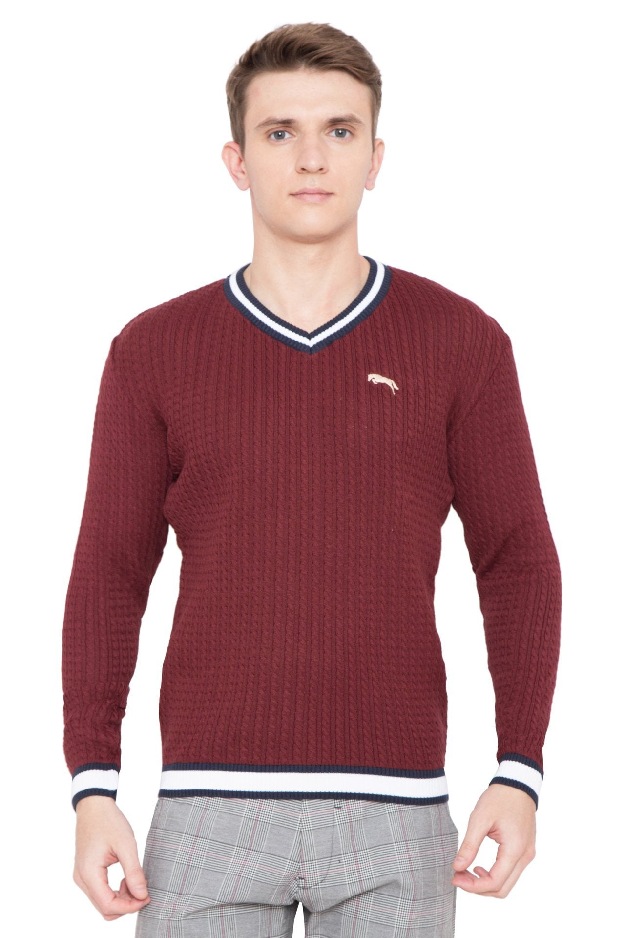 Men Regular Fit Cotton Casual Wine Lightweight Sweater