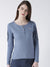 Women Blue Solid Round Neck T-shirt