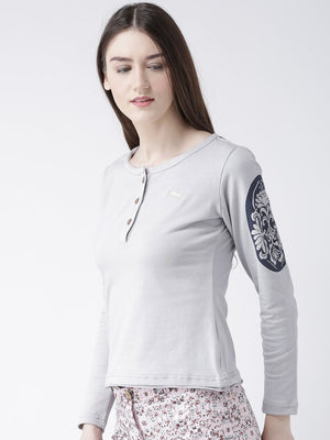 JUMP USA Women Grey Solid Round Neck T-shirt - Jump USA