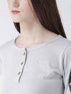 Women Grey Solid Round Neck T-shirt - JUMP USA