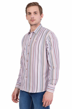 Relaxed Fit Long Sleeve Multi-Stripe Casual Shirt