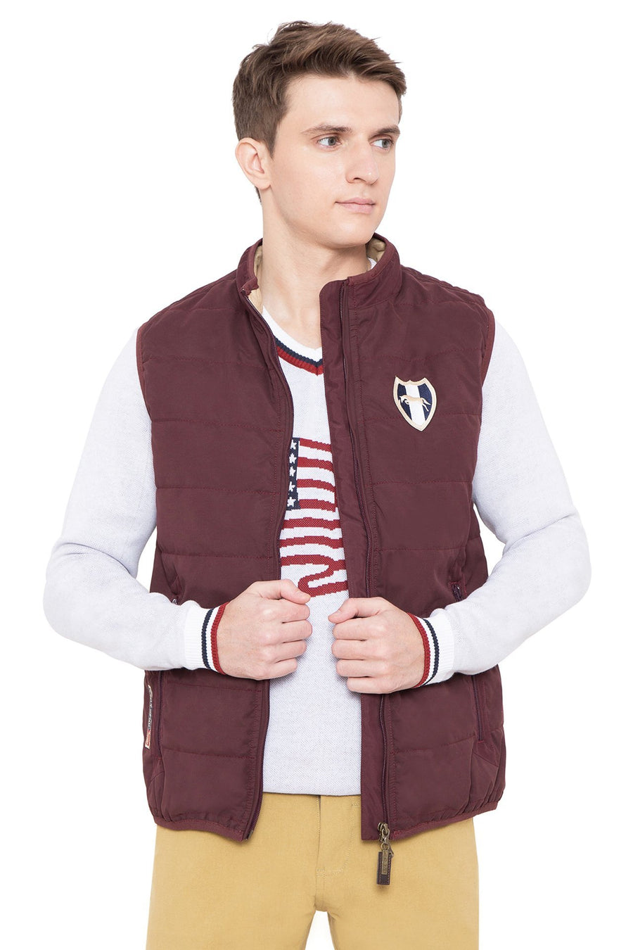 Men's Regular Fit Casual Wine Lightweight Winter Jacket