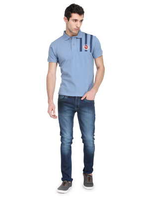 Men's Cornflower Blue Cotton & Spandex T-Shirt