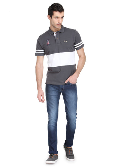 Men Graphite & White Cotton & Spandex T-Shirt - JUMP USA