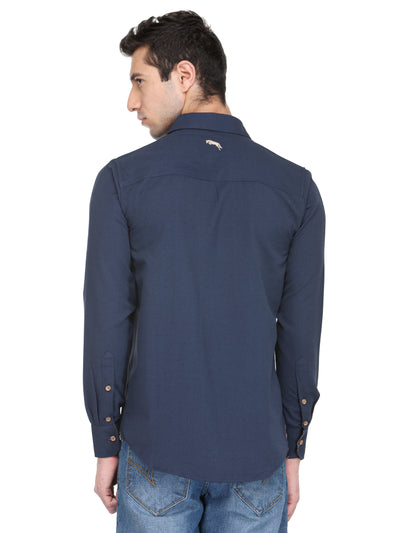 Men Electric Navy Bamboo Cotton & Micro Polyester Shirt - JUMP USA