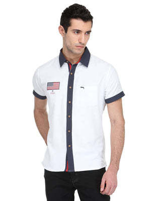 White Bamboo Cotton & Micro Polyester Shirt