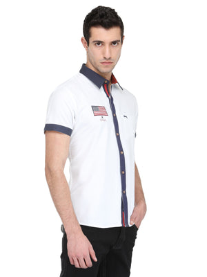 White Bamboo Cotton & Micro Polyester Shirt - Jump USA