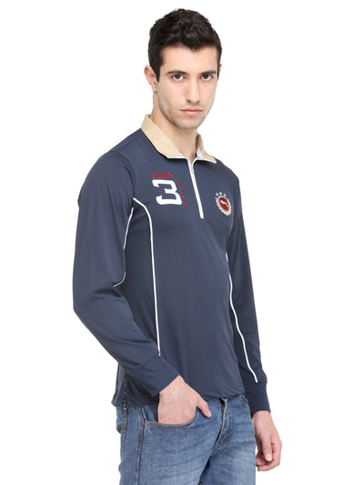 Electric Navy Micro Polyester Full Sleeve T-Shirt - JUMP USA