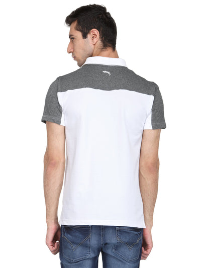 Charcoal Grey & White Micro Polyester & Cotton T-Shirt - JUMP USA