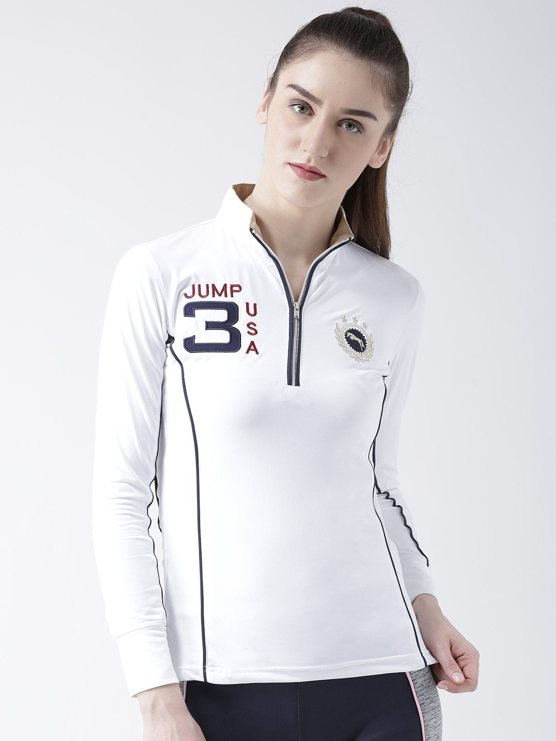 Women White Full Sleeves T-Shirt - JUMP USA