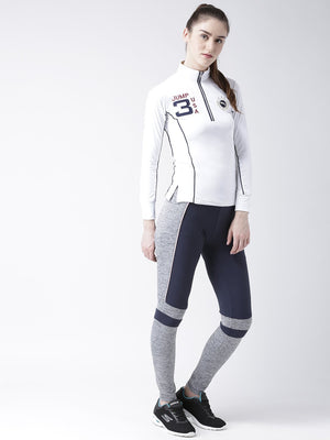 Women's White Full Sleeves T-Shirt - Jump USA