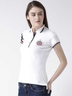 JUMP USA Women White Solid Polo Collar T-shirt
