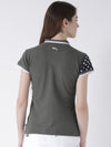 Women Charcoal Solid Polo Collar T-shirt - JUMP USA