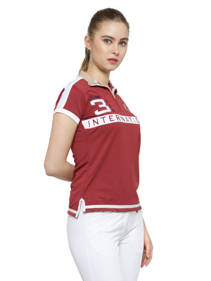 Women's Red Short Sleeves T-Shirt - Jump USA