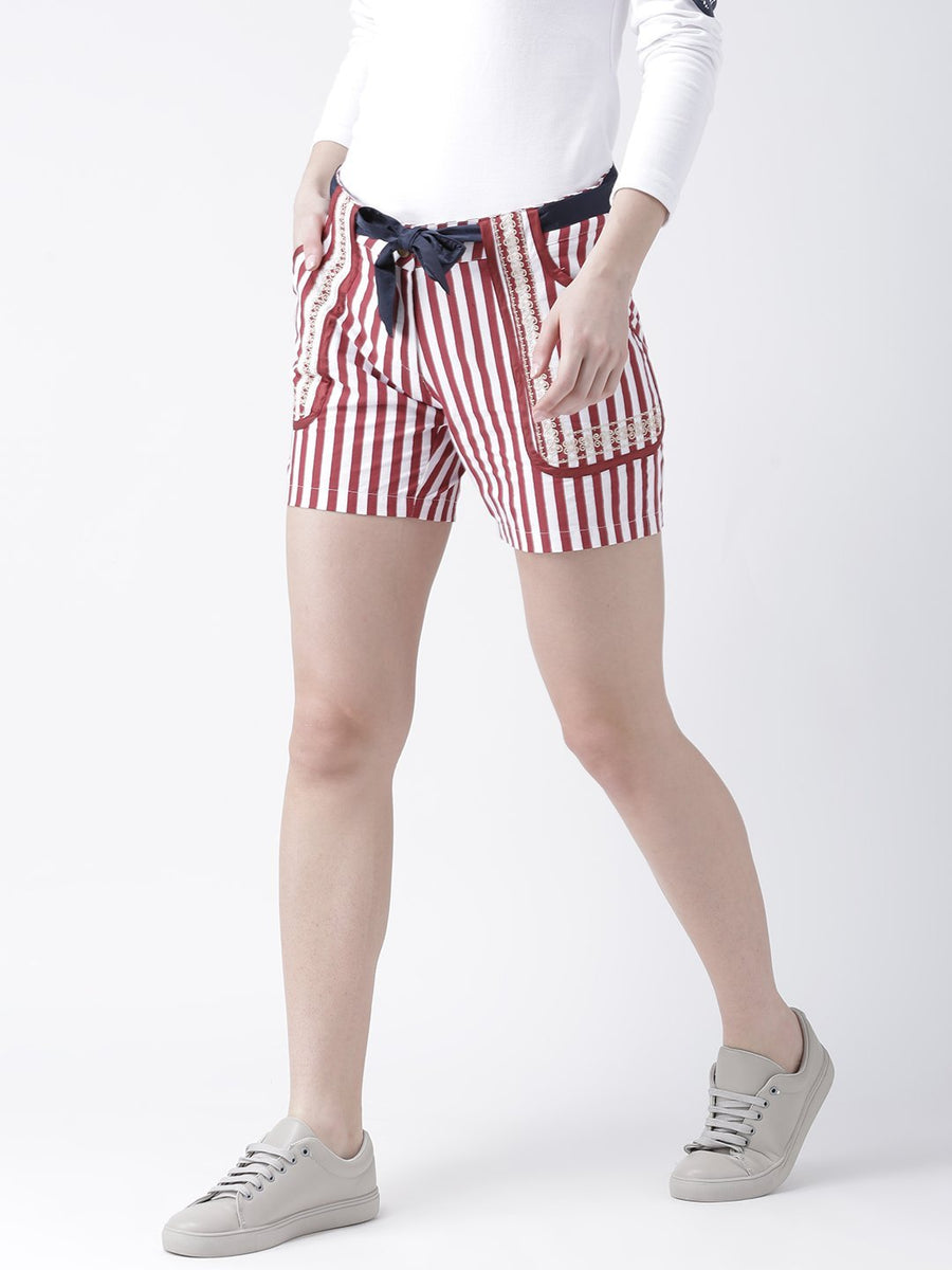 Women Striped Cotton Shorts