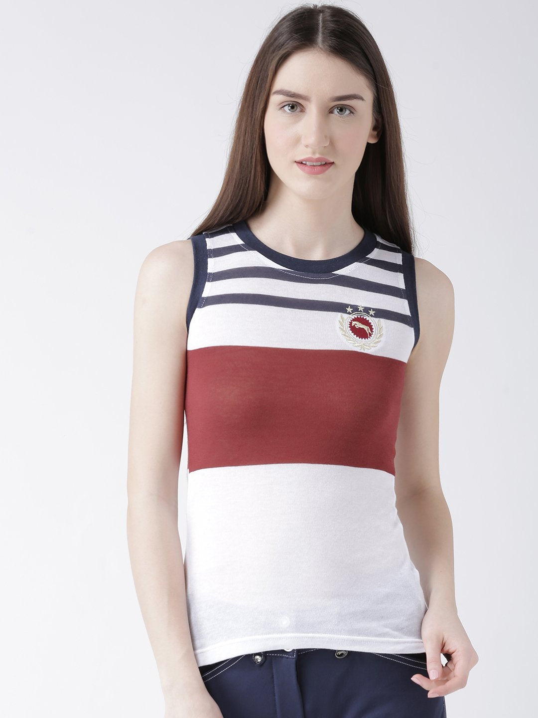 Women Multi-Color Sleeveless T-Shirt