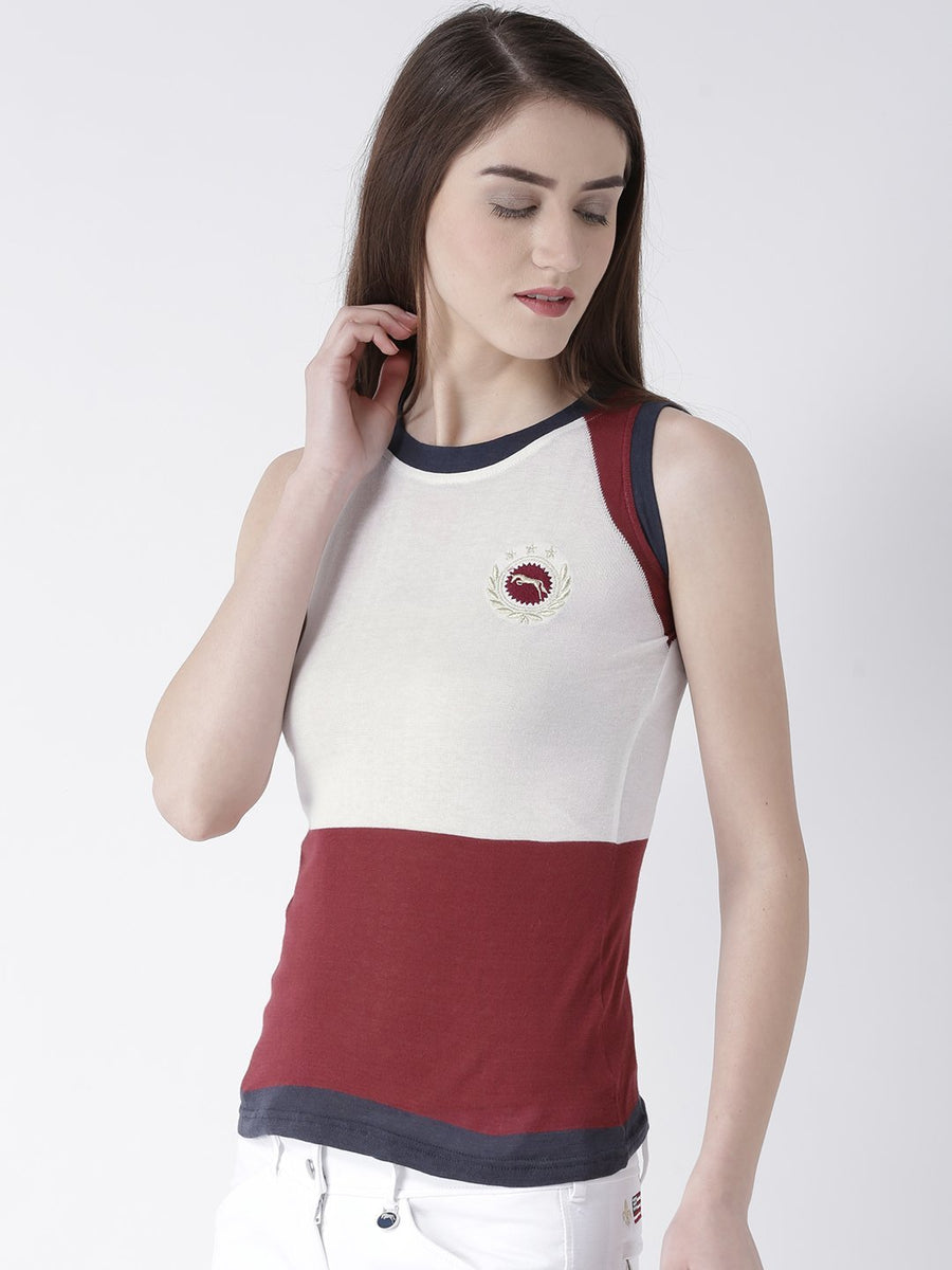 JUMP USA Women White Solid Top - Jump USA