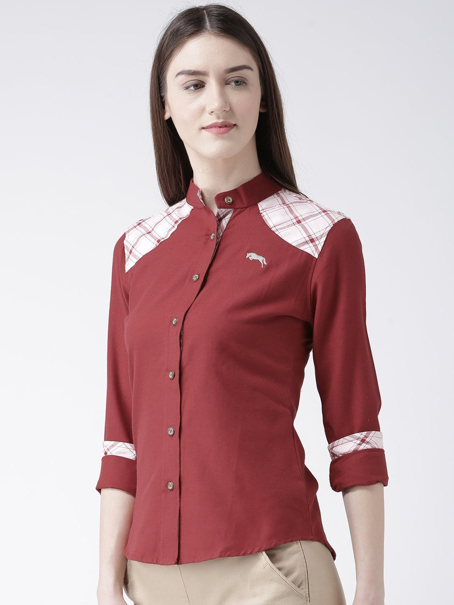 Women Red Regular Fit Solid Casual Shirt