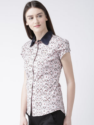 Womens Short Sleeve Printed Casual Shirt