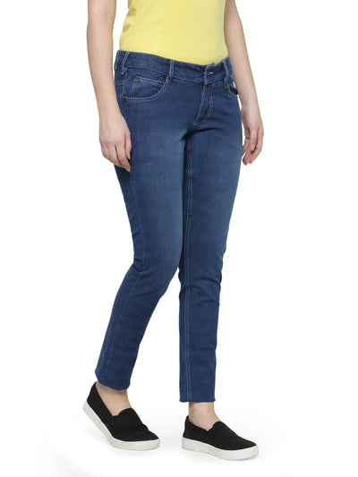 Women Solid Blue Color Jeans - JUMP USA