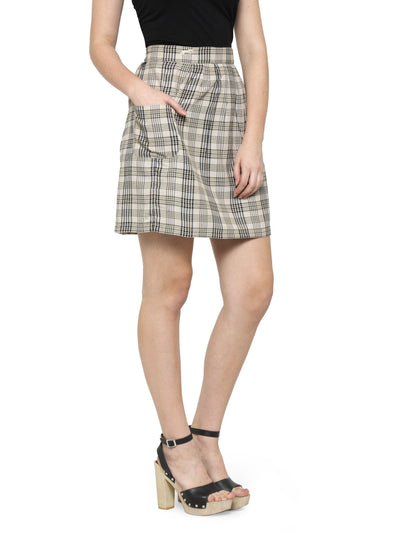 Women Checkered Above Knee Length Skirt - JUMP USA