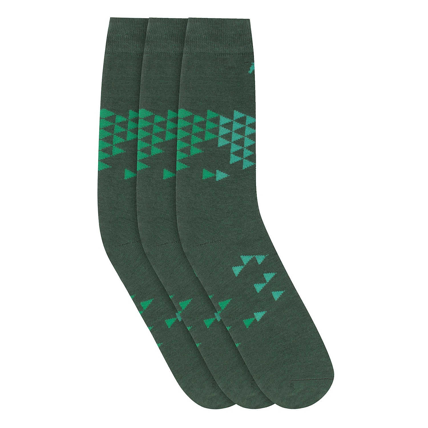 Men Pack of 3 Green Calf length Socks - JUMP USA