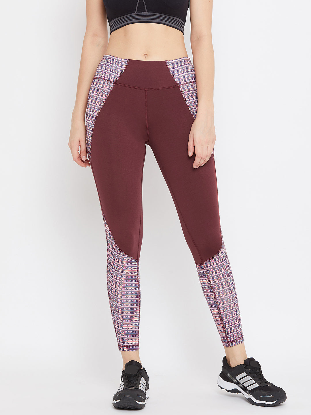 JUMP USA Women Maroon Printed Active Wear Tights