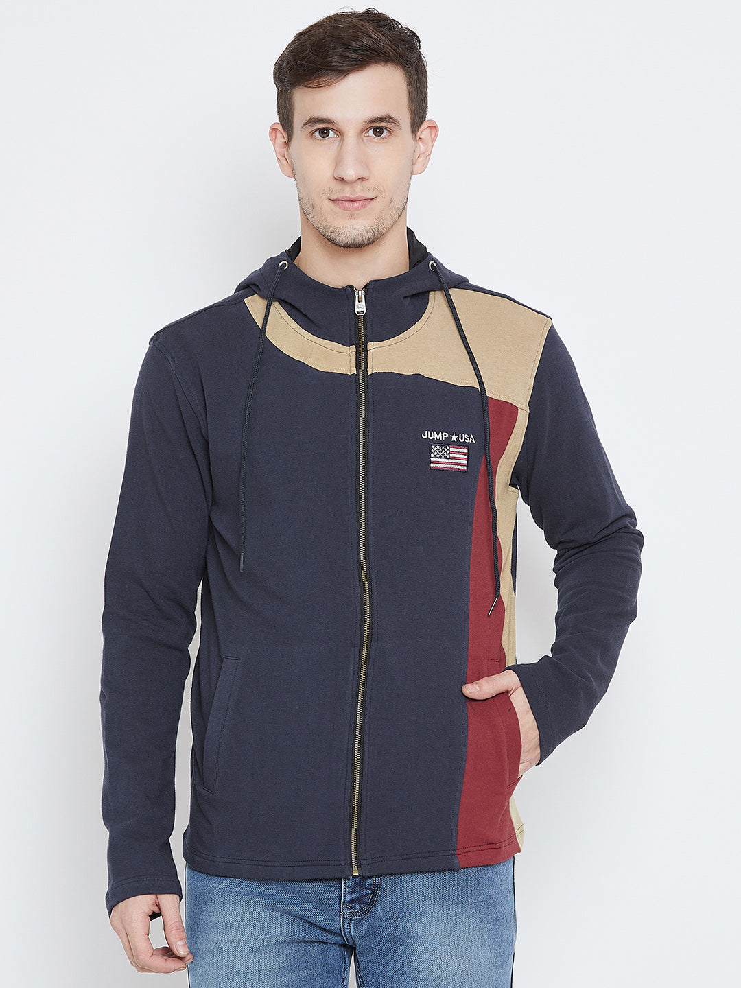 Men Navy Blue Casual Sweatshirts - JUMP USA