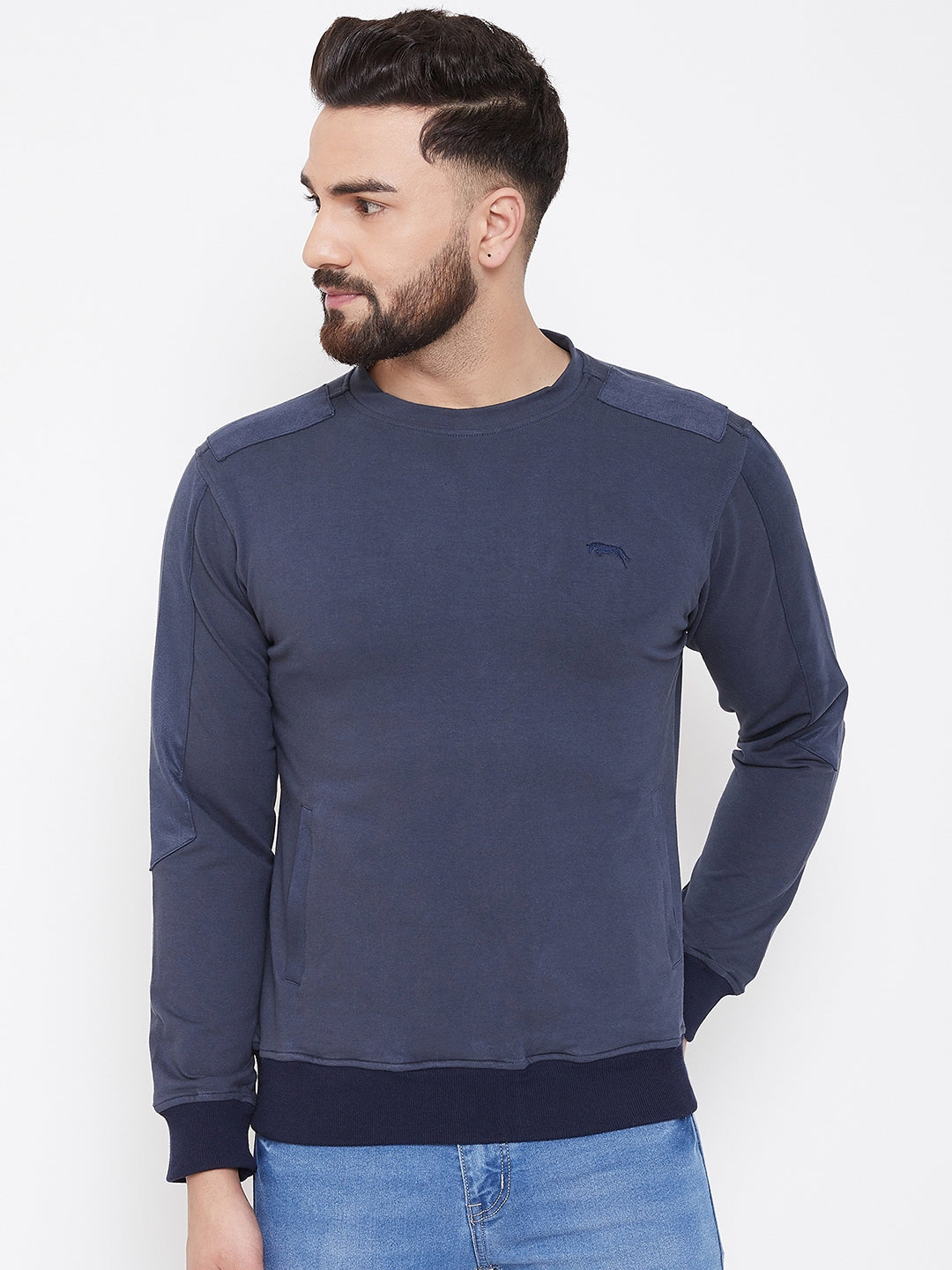 JUMP USA Men Navy Blue Solid Sweatshirt - JUMP USA