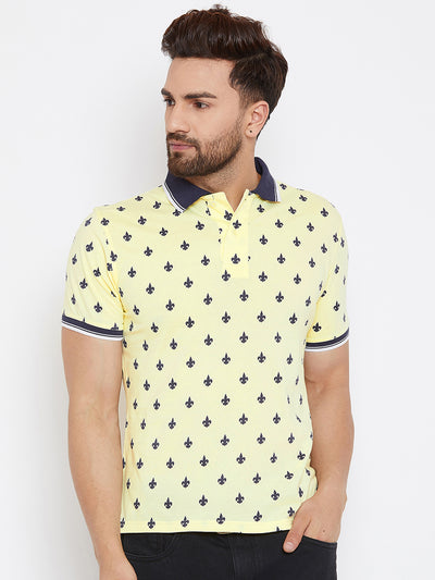 JUMP USA Men Yellow Printed Polo Collar T-Shirt - JUMP USA