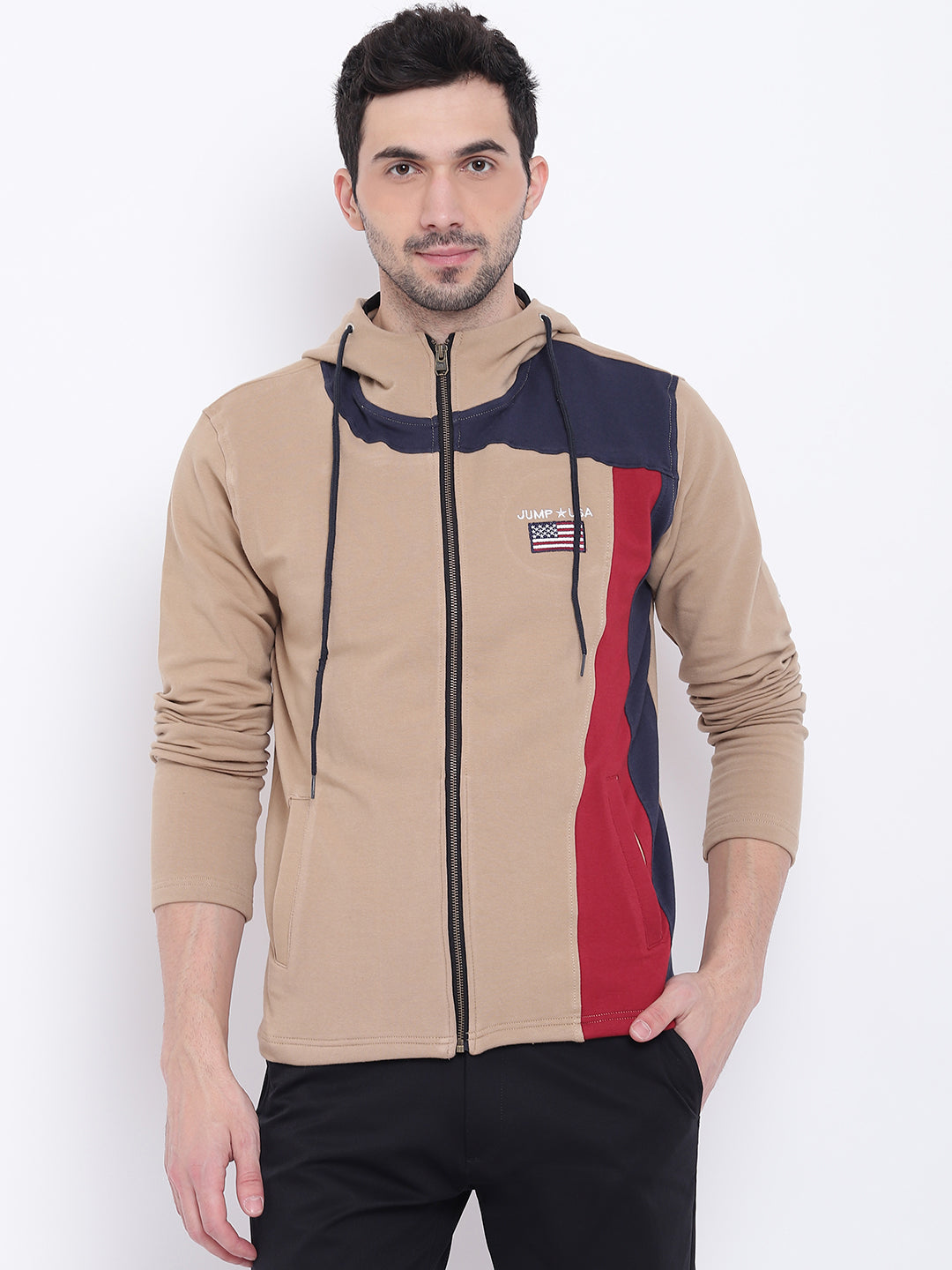 Men Casual Colourblocked Beige Sweatshirt - JUMP USA