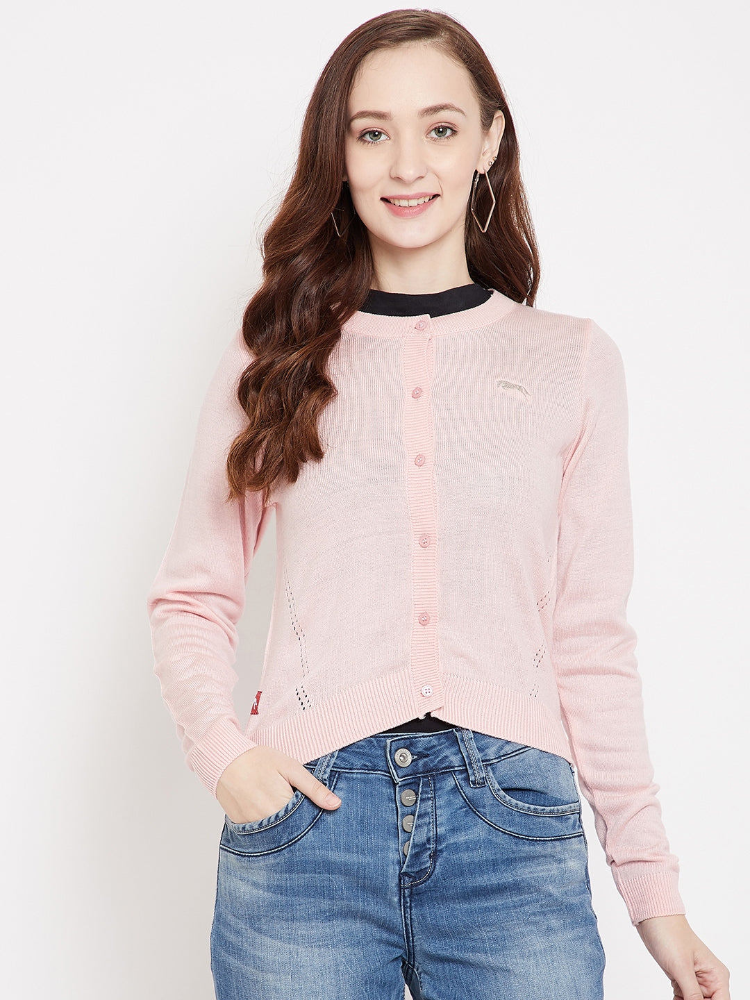 JUMP USA Women Pink Henley Neck Sweaters