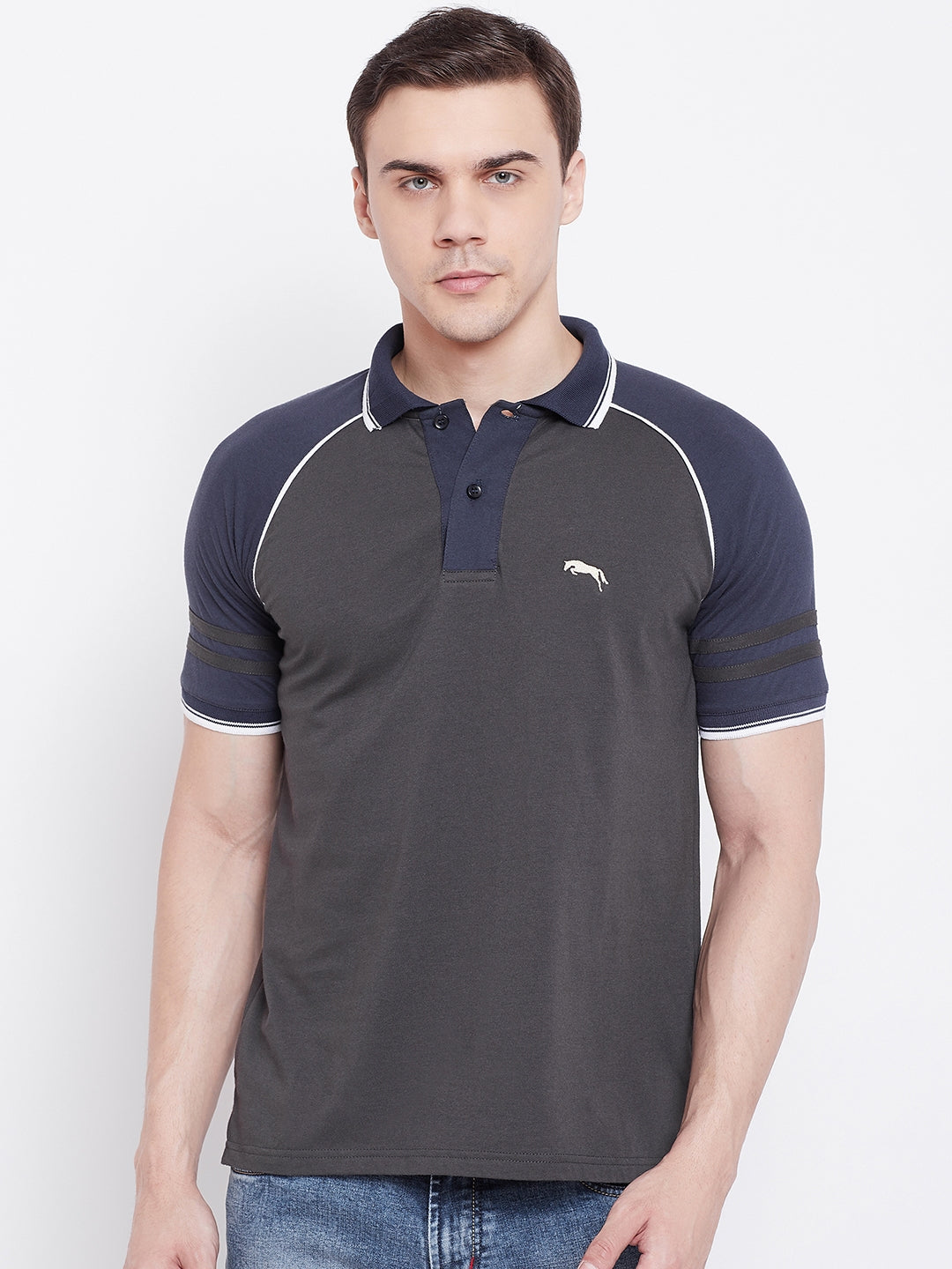JUMP USA Men Charcoal Solid Polo T-shirts - JUMP USA