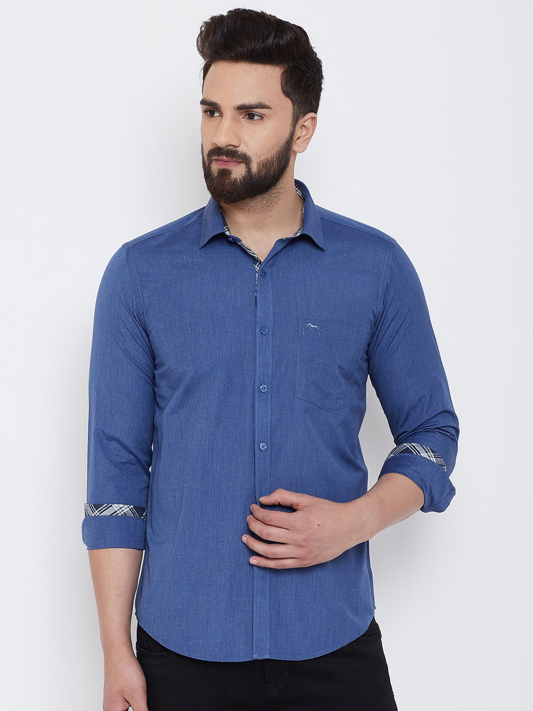 JUMP USA Men Blue Solid Cotton Casual Shirts