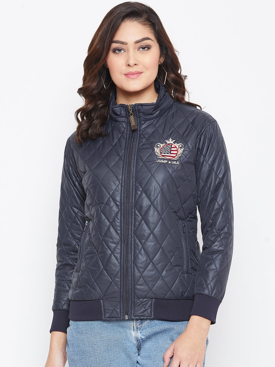 JUMP USA Women Navy Blue Self Design Jacket - JUMP USA