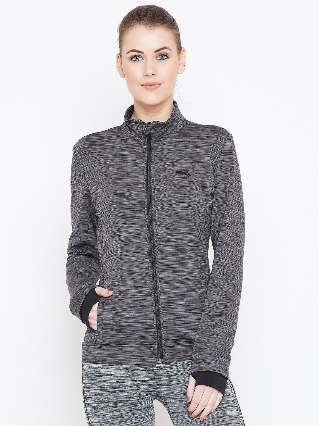 Women Black Solid Sporty Jacket