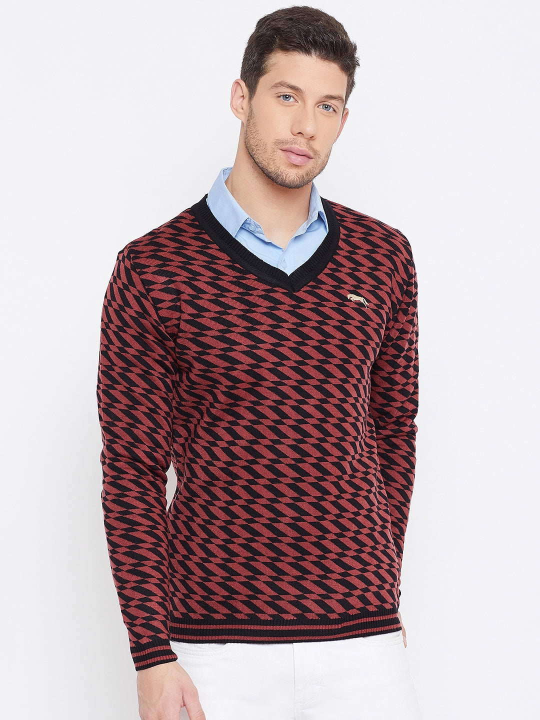 JUMP USA Men Red Colourblocked Casual Sweaters - JUMP USA