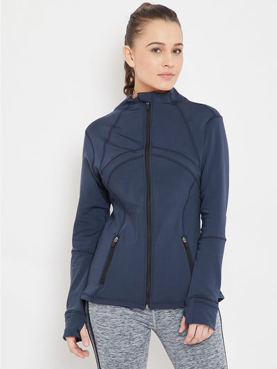 Women Sports Navy Blue Sporty Jacket - JUMP USA