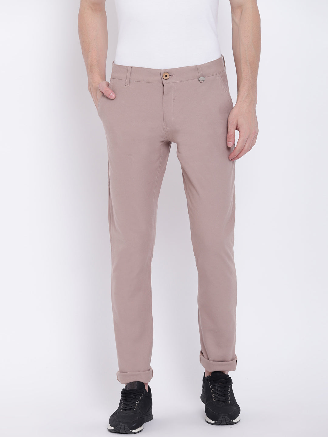 Men Casual Solid Beige Chinos
