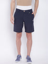 Men Casual Solid Navy Blue Chinos Shorts - JUMP USA
