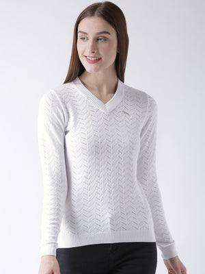 Women Cotton Casual Long Sleeve  White Winter Sweaters - Jump USA