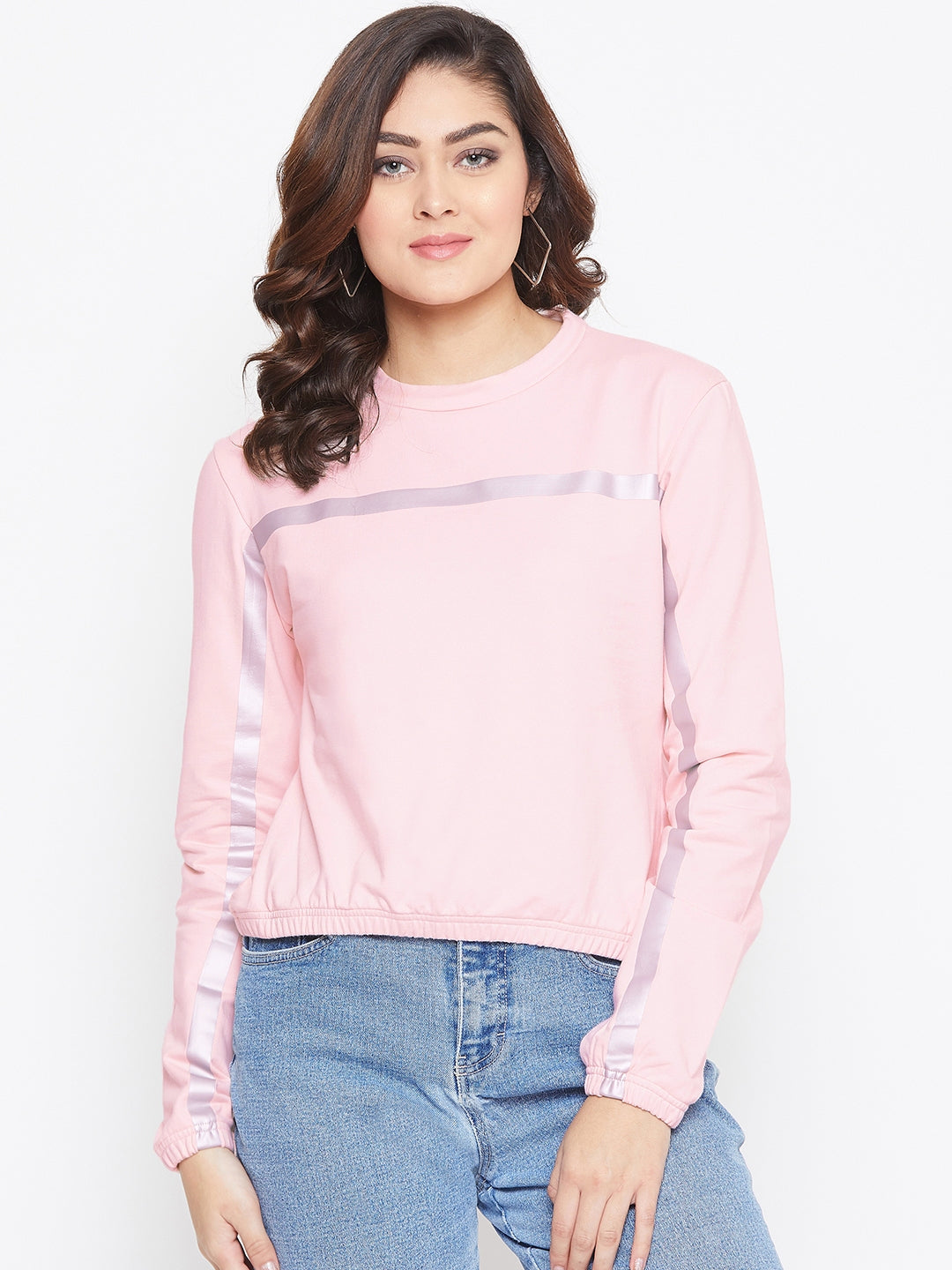 JUMP USA Women Pink Solid Sweatshirt - JUMP USA